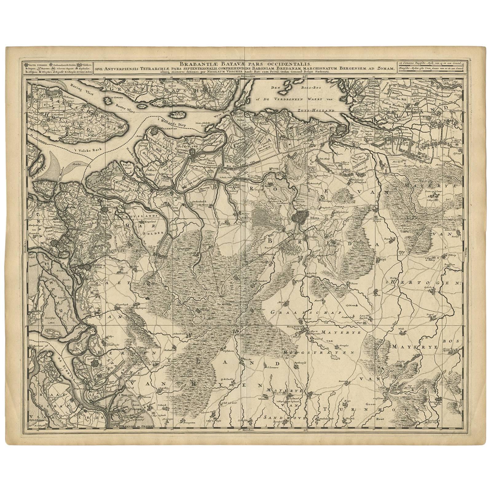 Antique Map of Brabant 'The Netherlands' by N. Visscher, circa 1690