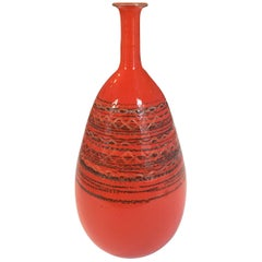 Vintage Orange Striated Ceramic Long Necked Tall Vase by Raymor