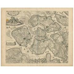Antique Map of Zeeland 'The Netherlands' by N. Visscher, circa 1690