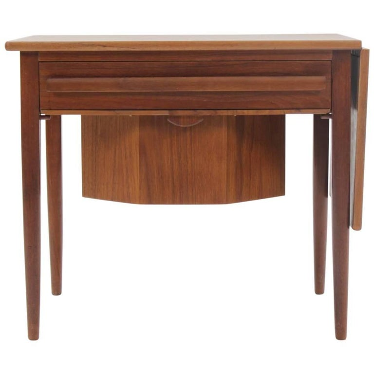 1960s Danish Extendable Teak Sewing Table