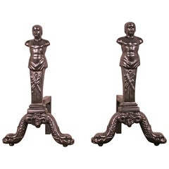 Pair of Reclaimed 19th Century Neoclassical Fireplace Andirons