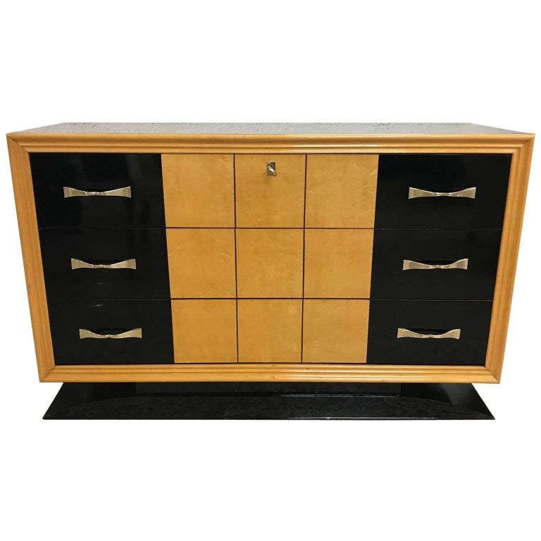 Italian Art Deco Black and Maple Chest of Drawers, 1940s
