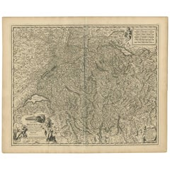 Antique Map of Switzerland by N. Visscher, circa 1690