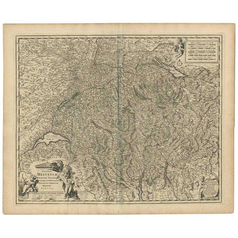 Antique Map of Switzerland by N. Visscher, circa 1690 For Sale