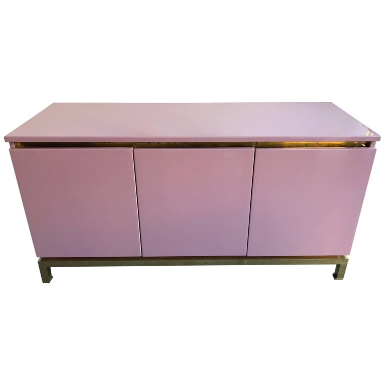 Sideboard Lacquered and Brass by Guy Lefevre for Maison Jansen, France, 1970s