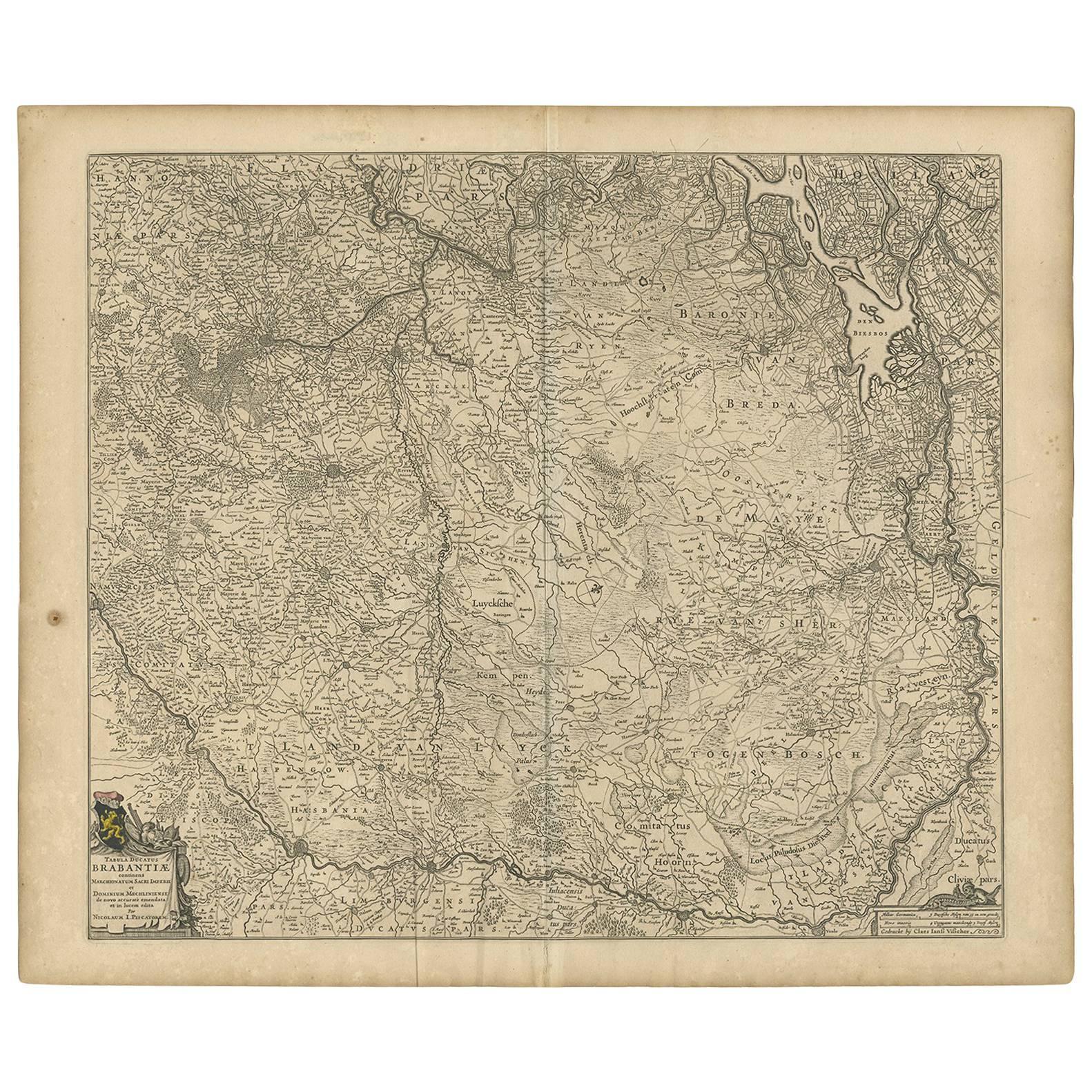 Antique Map of Brabant 'The Netherlands' by N. Visscher, circa 1670