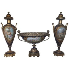 Late 19th Century Sevre Style Porcelain and Ormolu Assembled Ganiture