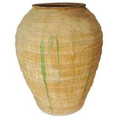 19th Century Extra Large Semi Glazed Olive Jar