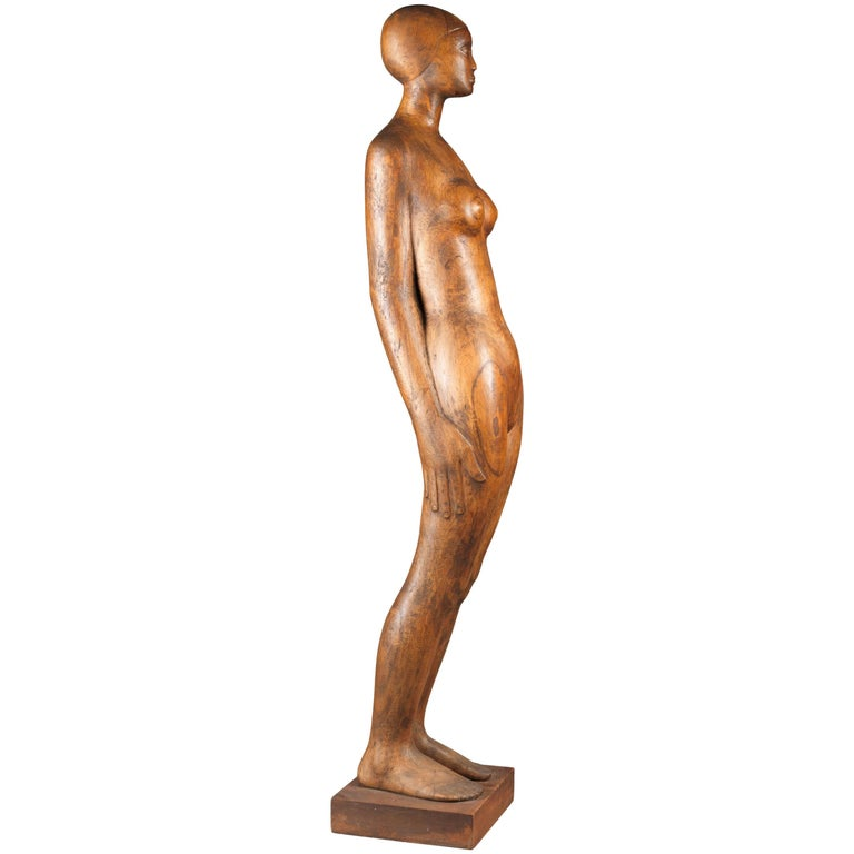 Wooden Sculpture Naked Woman by Belgian Sculptor Adolphe A.H. Daenen