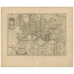Antique Map of Europe by J. Janssonius, circa 1650