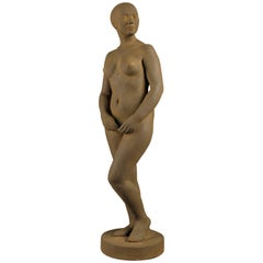Plaster Sculpture Naked Woman by Belgian Sculptor Adolphe A.H. Daenen
