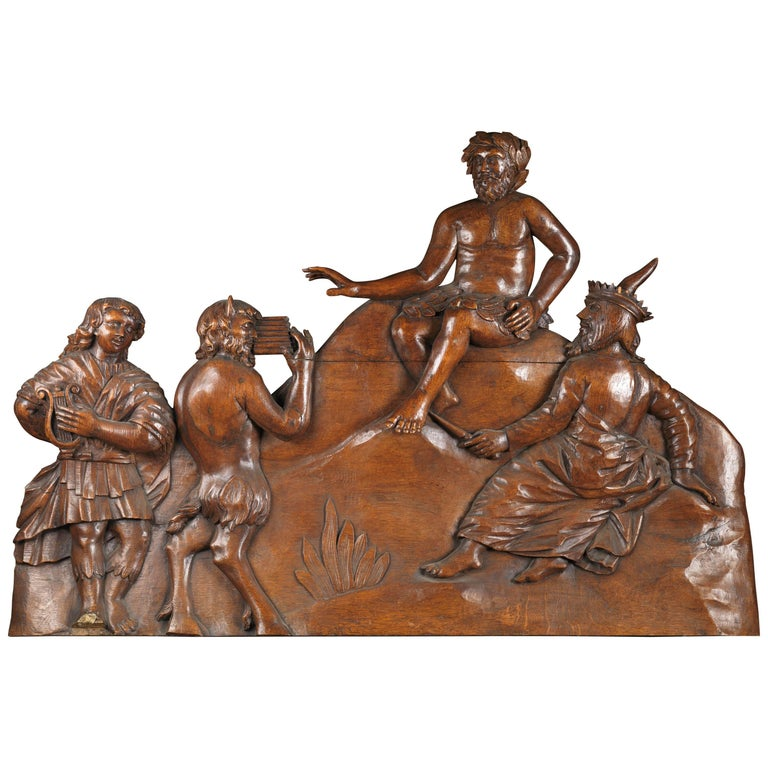 """Wooden Panel Sculpture Representing """"Midas and the Ass's Ears"""", France"""