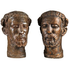 Bronze Head of Bearded Man and Original Plaster, E. Wijnants