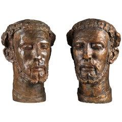 Bronze Head of Bearded Man and Original Plaster, E. Wijnants