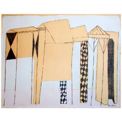 "Ben Shahn ""Deserted Fairground"" Rare 1948 Screenprint"