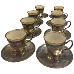 Set of Eight Sterling Silver Tiffany, Lenox Porcelain and Accompanying Saucers