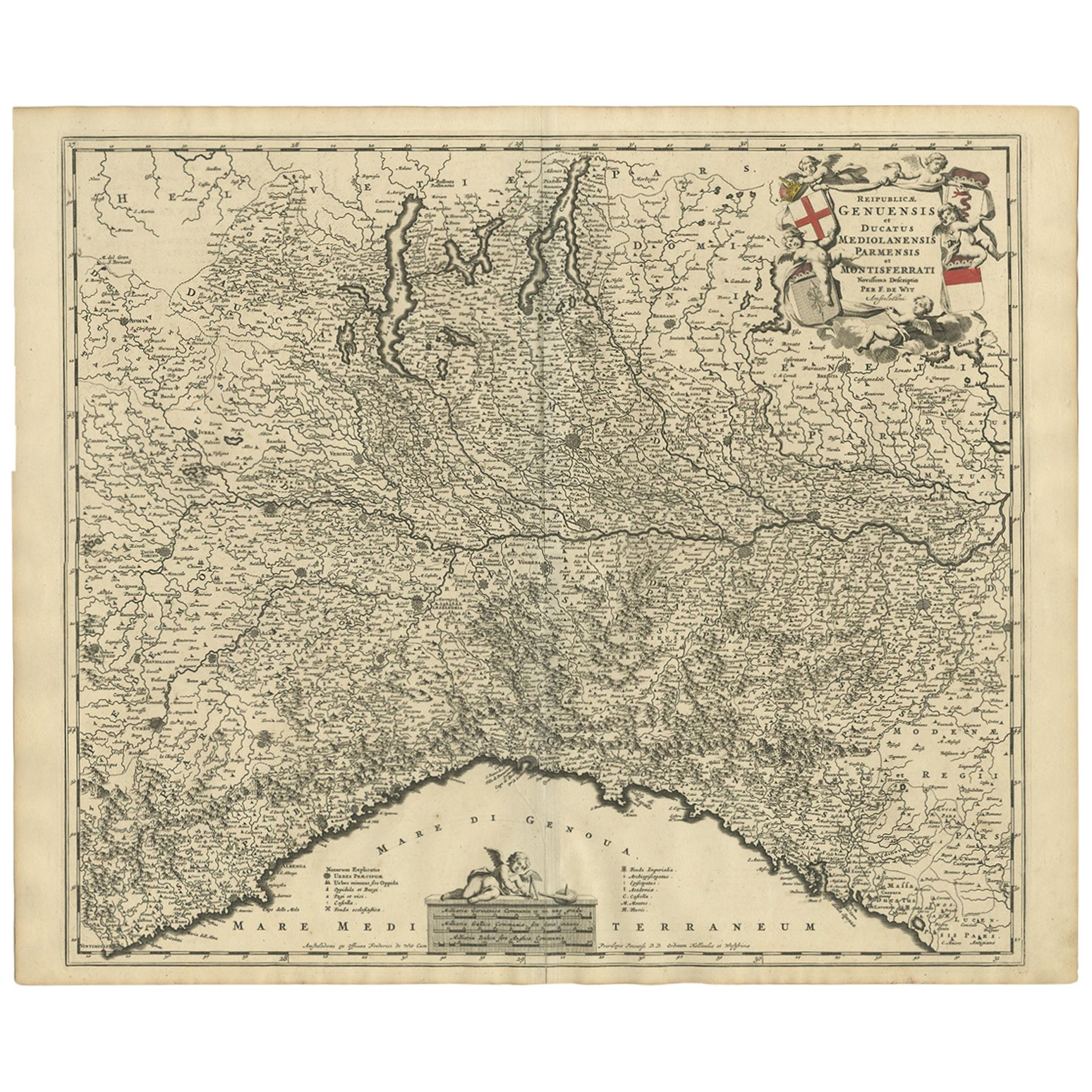 Antique Map of Northern Italy by F. de Wit, 1690