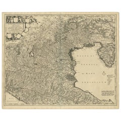 Antique Map of the Region of Venice, Italy by F. De Wit, circa 1700