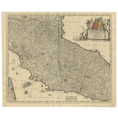 Antique Map of the Region of Tuscany Italy by F. de Wit, circa 1700