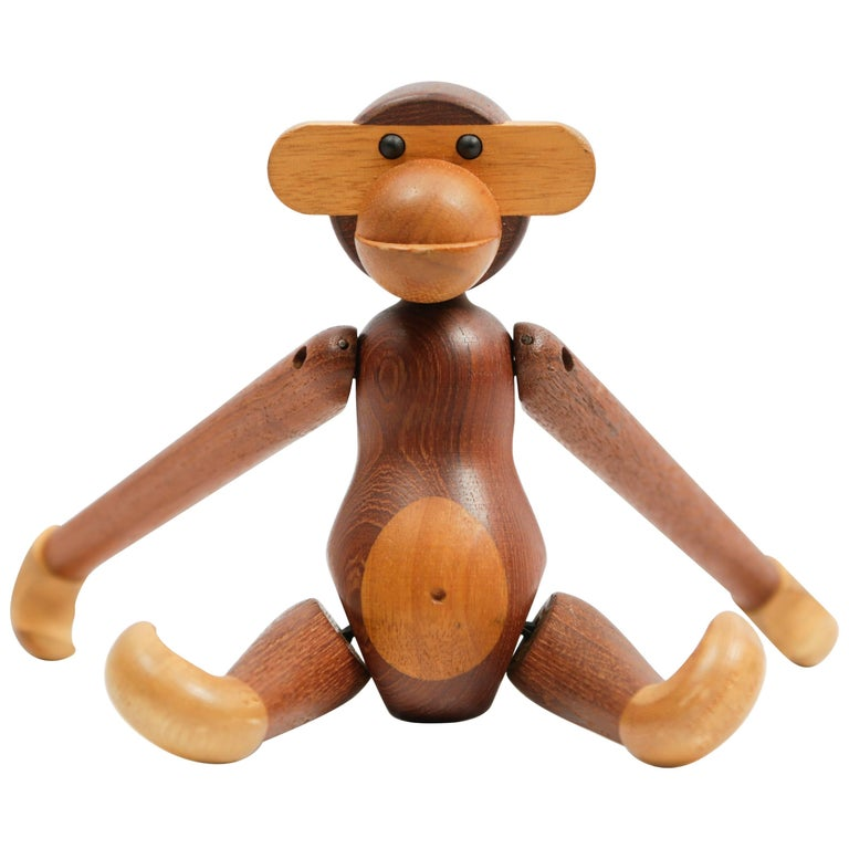 Kay Bojesen, danish teak and ebony sculpture of Monkey, circa 1951