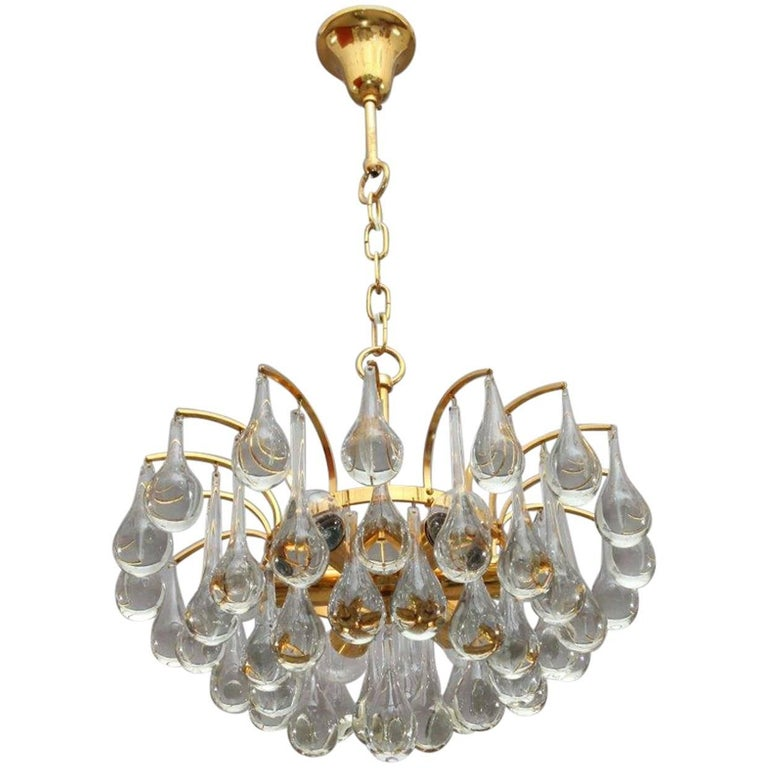 Gilded Tear drop Crystal Glass Chandelier by Palwa, circa 1970s