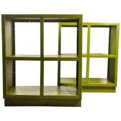 Pair of 1950s Industrial Green Shelving Units