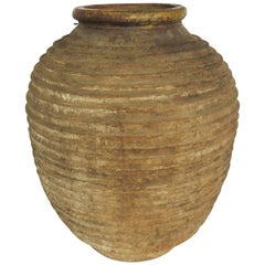 19th Century Large Ribbed Terracotta Jar