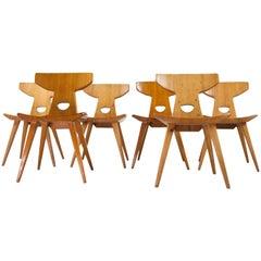 Set of Six Pine Wooden Chairs by Jacob Kielland Brandt 1960 Scandinavian Modern