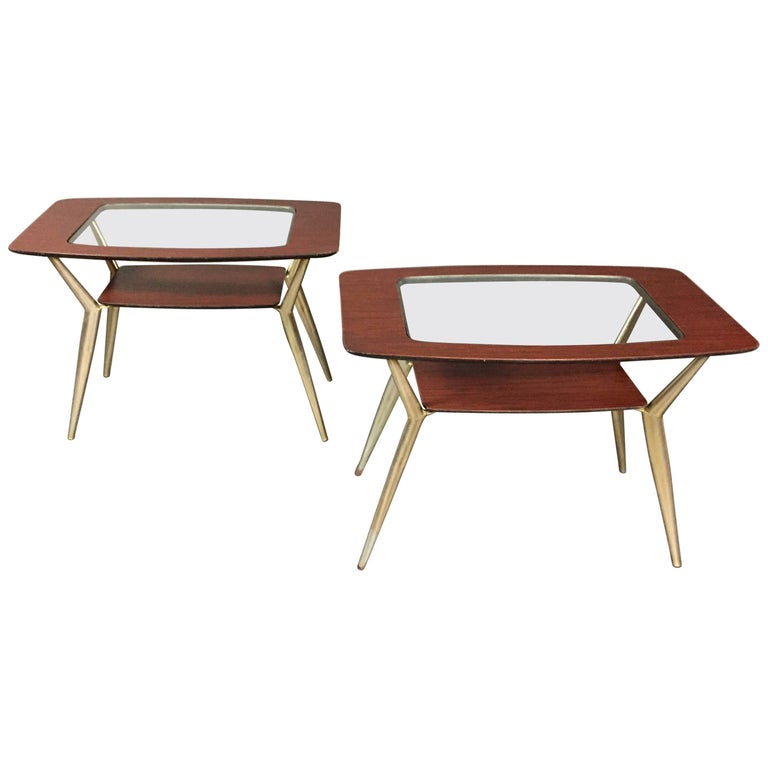 Pair of Atomic Metal and Glass Side Tables, USA, 1970