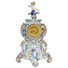 "Rococo Meissen Porcelain Clock ""Day and Night"", Pfeiffer Period"