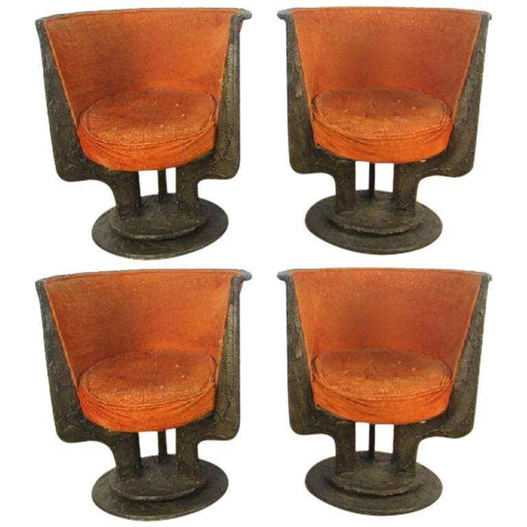 Set of Four Paul Evans Sculpted Bronze Chairs For Sale