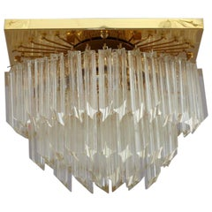 Gilded Crystal Glass Flush Mount by Palwa, Germany, 1970