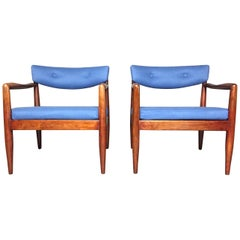 Pair of Adrian Pearsall Upholstered Lounge Chairs, USA, 1960s