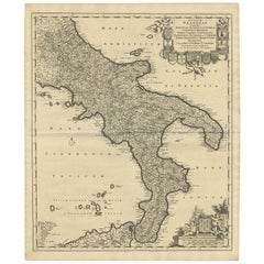 Antique Map of Naples Italy by F. de Wit, circa 1690