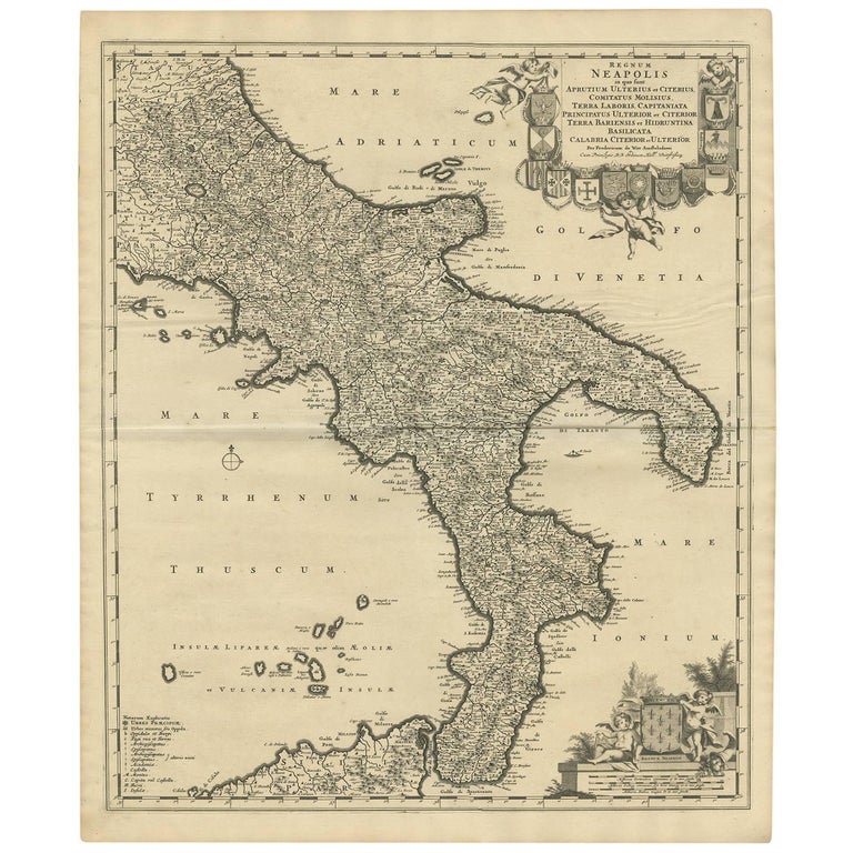 Antique Map of Naples Italy by F. de Wit, circa 1690 For Sale