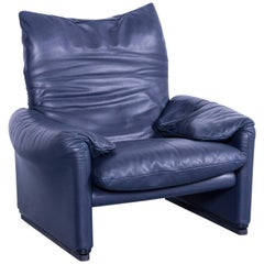 Cassina Maralunga Armchair Vico Magistretti Chair Leather Blue Function