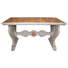Italian Aged Carrara Marble Mosaic Table in Florentine Pietre Dure Style