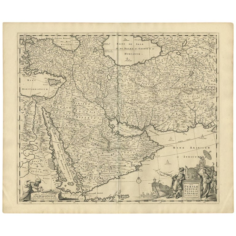 Antique Map of the Region East from Cyprus to Iran 'Asia' by F. De Wit, 1680
