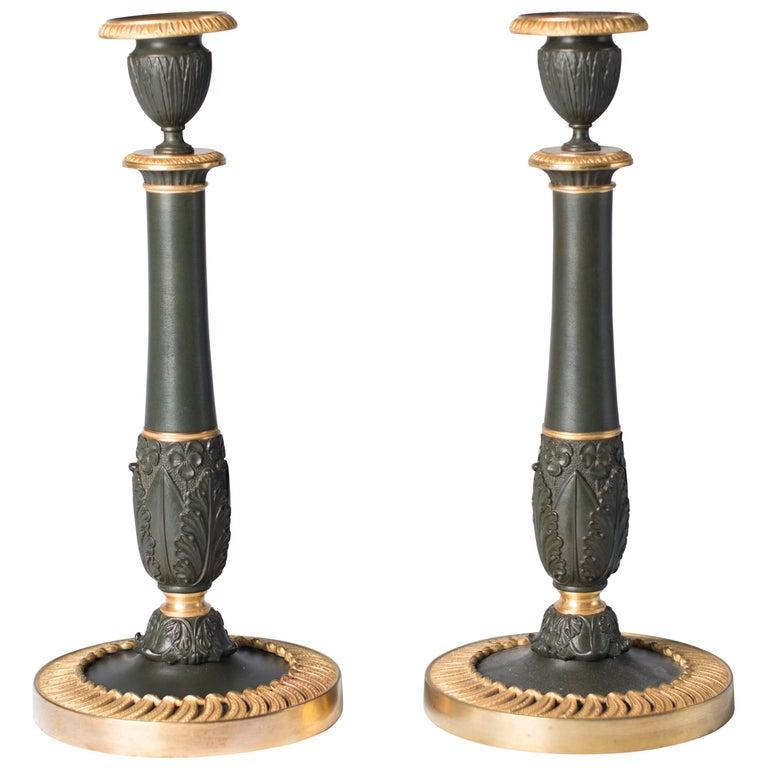 Candlesticks Antique Gilded Bronze, France, 1830