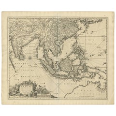 Antique Map of Southeast Asia 'India, Indonesia' by N. Visscher, circa 1670