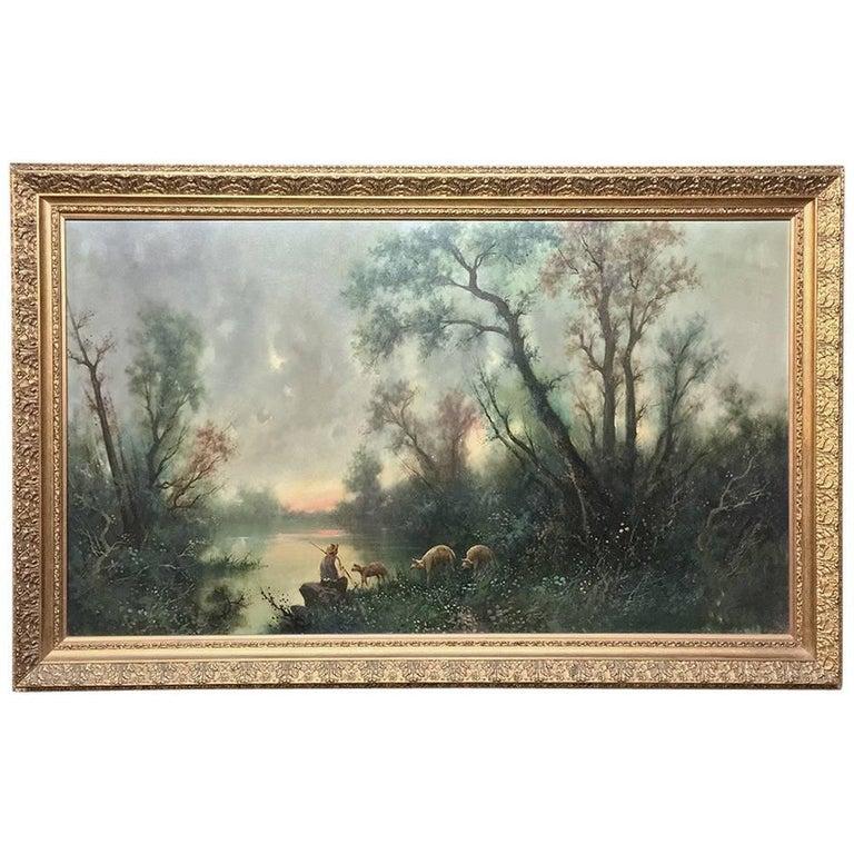 Midcentury Framed Large Landscape Oil Painting on Canvas