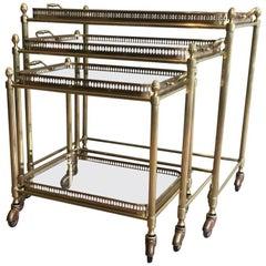 Set of Three Brass Nesting Bar Carts by Maison Baguès