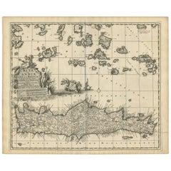 Antique Map of Crete 'Greece' by N. Visscher, circa 1695