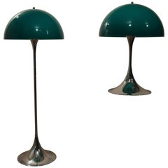 Pair of Rare Green Panthella by Verner Panton for Louis Poulsen