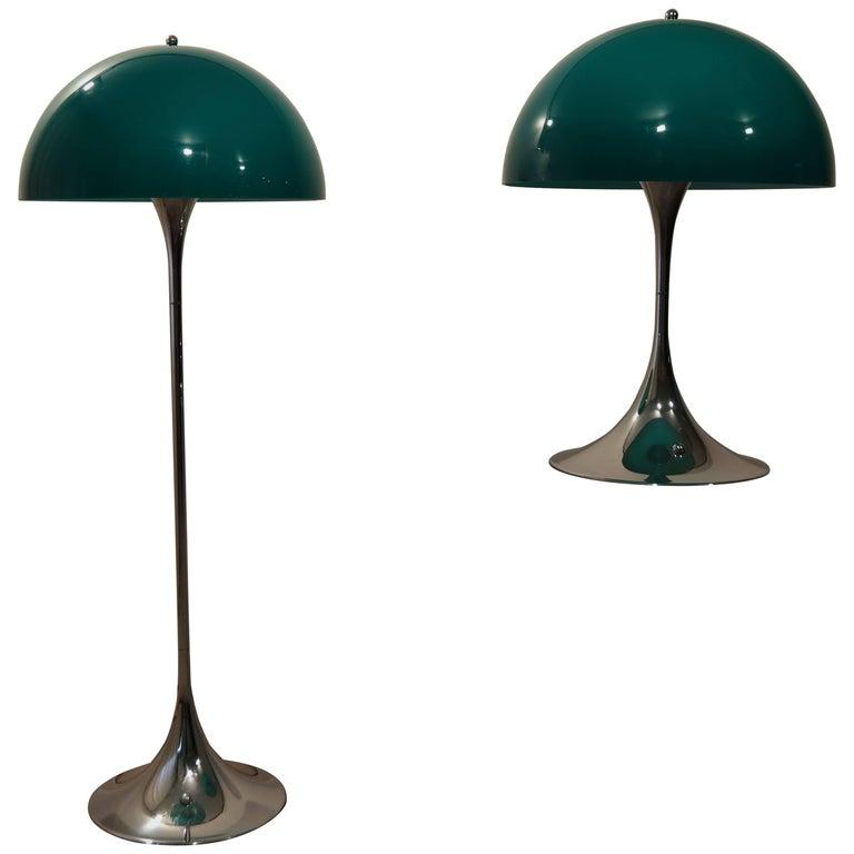 Pair of Rare Green Panthella by Verner Panton for Louis Poulsen