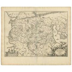 Antique Map of Macedonia by J. Janssonius, circa 1650