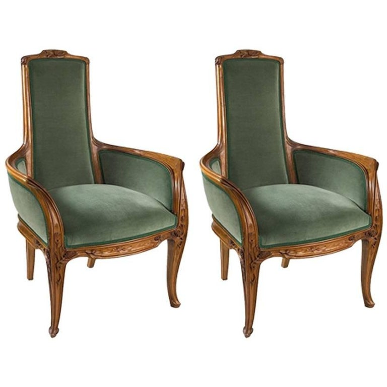 Pair of French Art Nouveau Armchairs by Louis Majorelle