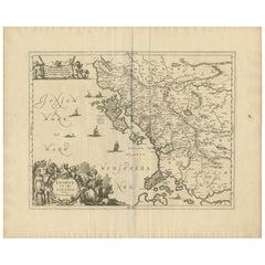 Antique Map of Epirus 'Albania, Greece' by J. Janssonius, circa 1650