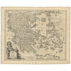 Antique Map of Greece by N. Visscher, circa 1680