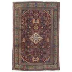 Antique Persian Mahal Rug with Rustic Gustavian Art Deco Style